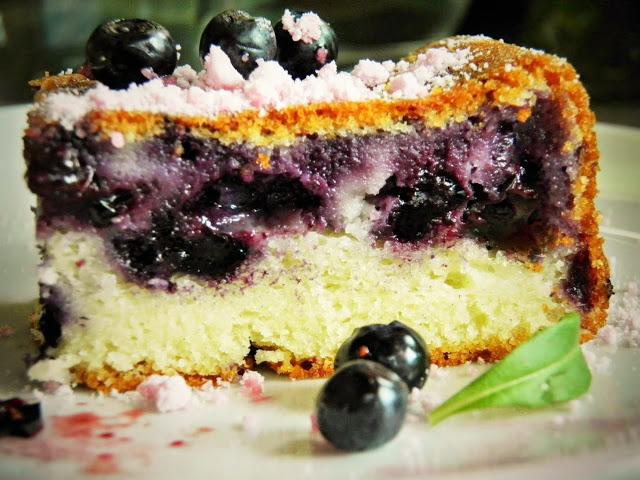 Ucierane ciasto jagodowe